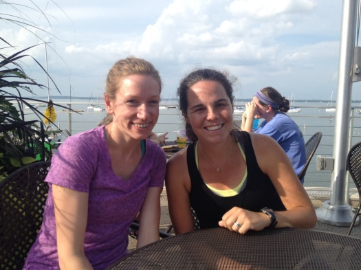 post-run ice cream on the terrace at UW-Madison with my college teammate, Britt